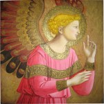 "Erin McDermott after Fra Angelico: recreation of ""Annunciatory Angel"" in acrylic and ink."