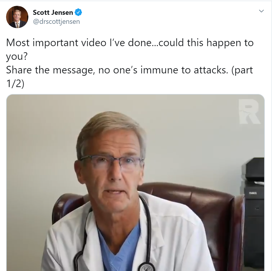 State Senator and practicing Medical Doctor Scott Jensen is one of those other dissenting voices my friends say don't exist.