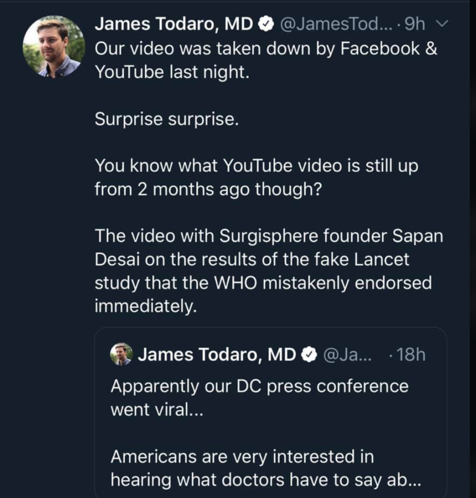 @JamesTodaroMD on Twitter letting the world know about content removal on YouTube and Facebook.